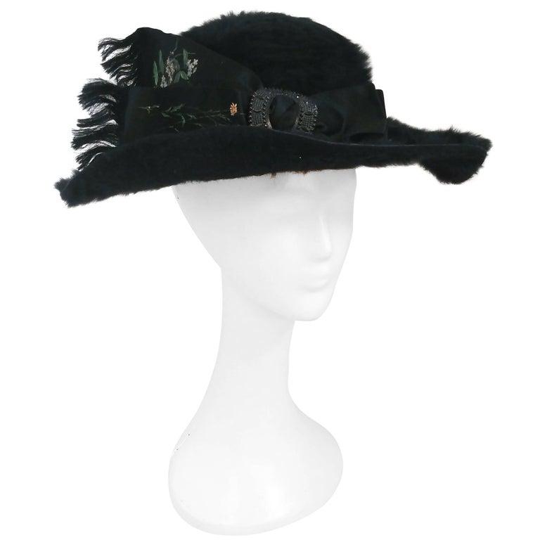 Edwardian Black Fur Felt Picture Hat w/ Painted Ribbon, 1910s