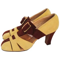 Yellow and Brown Suede Heels, 1930s
