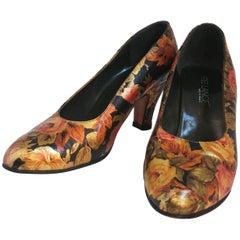 Free Lance Metallic Floral Heels, 1980s