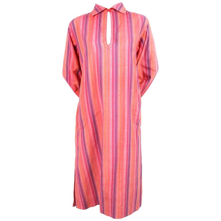 1970's YVES SAINT LAURENT striped cotton dress