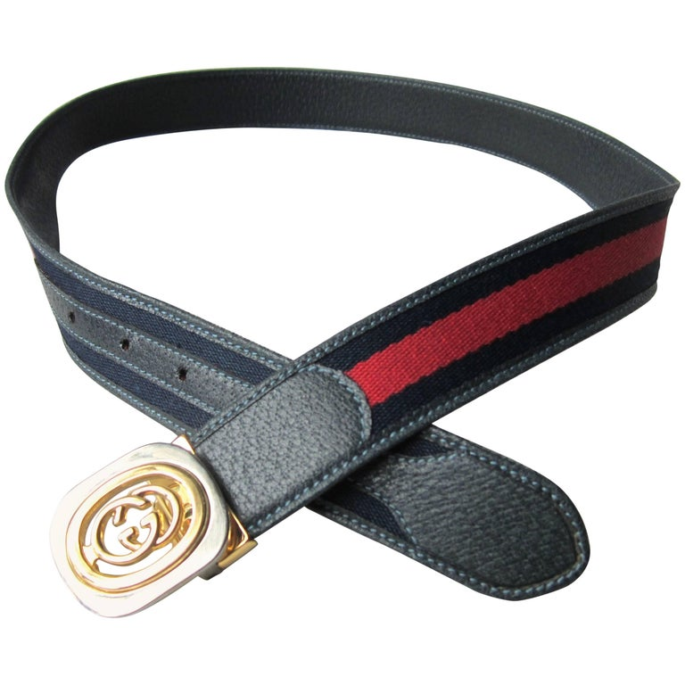 1990s Interlocking Double G GUCCI Leather Blue Red Belt Tom Ford Era Never worn