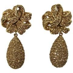 1980s Ciner Swarovski crystal Dangle Clip on earrings New, Never Worn