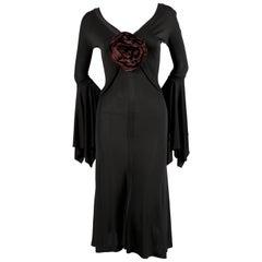 TOM FORD for YVES SAINT LAURENT spring 2003 black runway dress with rose