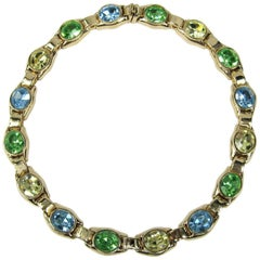 1980s Ciner Green Blue & Yellow swarovski Crystal Necklace New Never Worn
