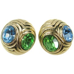 1980s Ciner Blue & Green Swarovski Crystal Earrings New, Never worn