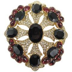 1990s Ciner swarovski black and red Brooch / Pendant Never worn