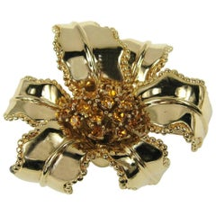 1980s Ciner Amber Swarovski Crystal Floral Brooch NEW Never worn