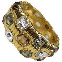 1990s Large Ciner swarovski Crystal Massive Bracelet Never Worn