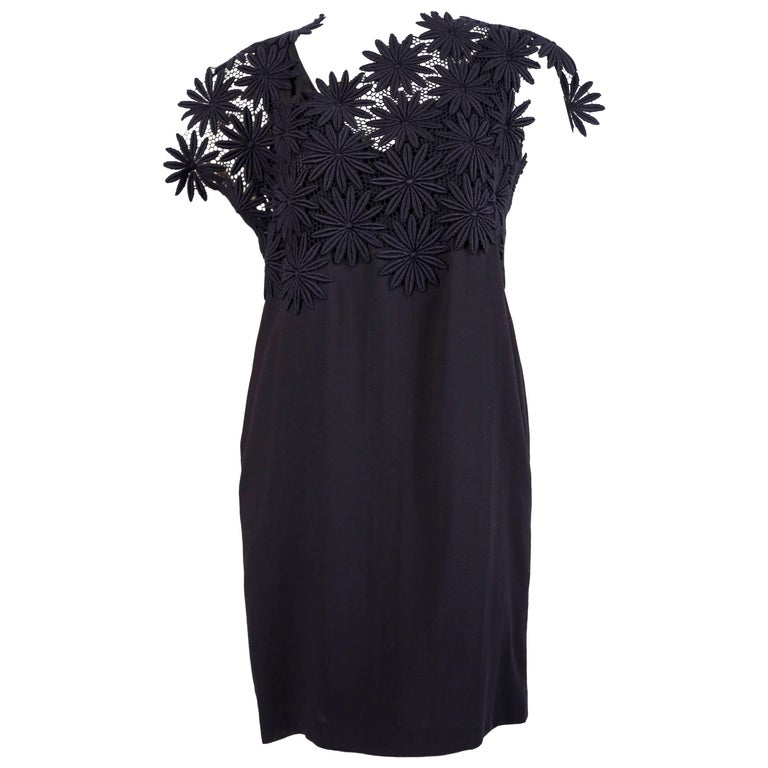 1991 COMME DES GARCONS navy blue embroidered lace runway dress For Sale