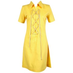 1980's YVES SAINT LAURENT yellow safari dress