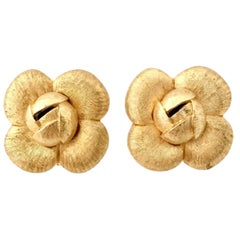 90'S St. John Brushed Gold Plate Abstract Flower Earrings