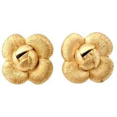 90'S St. John Brushed Gold Abstract Flower Earrings