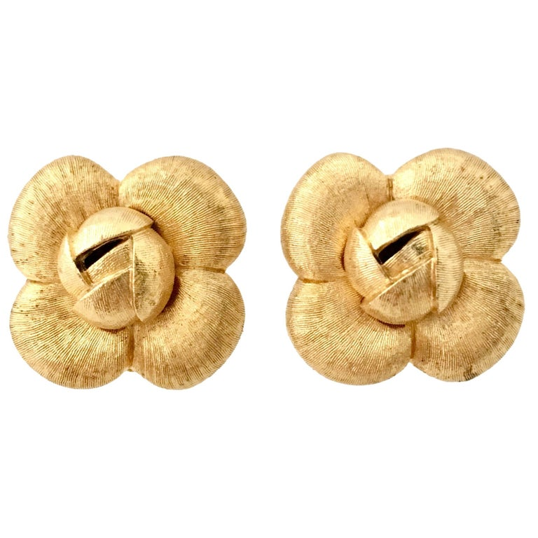 90'S St. John Brushed Gold Plate Abstract Flower Earrings For Sale