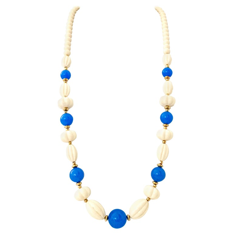 70'S Gold, Blue & Ivory Lucite Bead Necklace By, Trifari For Sale