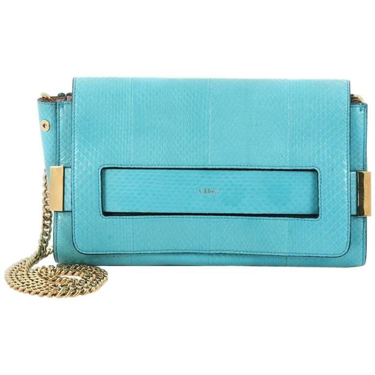 Chloe Elle Chain Clutch Python Medium