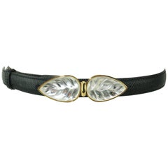 Lalique Art Glass Leaf Buckle With Black Leather Belt