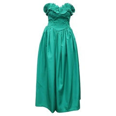 1970's Richilene Green Taffeta Strapless Evening Dress