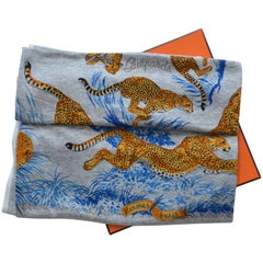 HERMES Carre Guepards Cotton Scarf   NEW