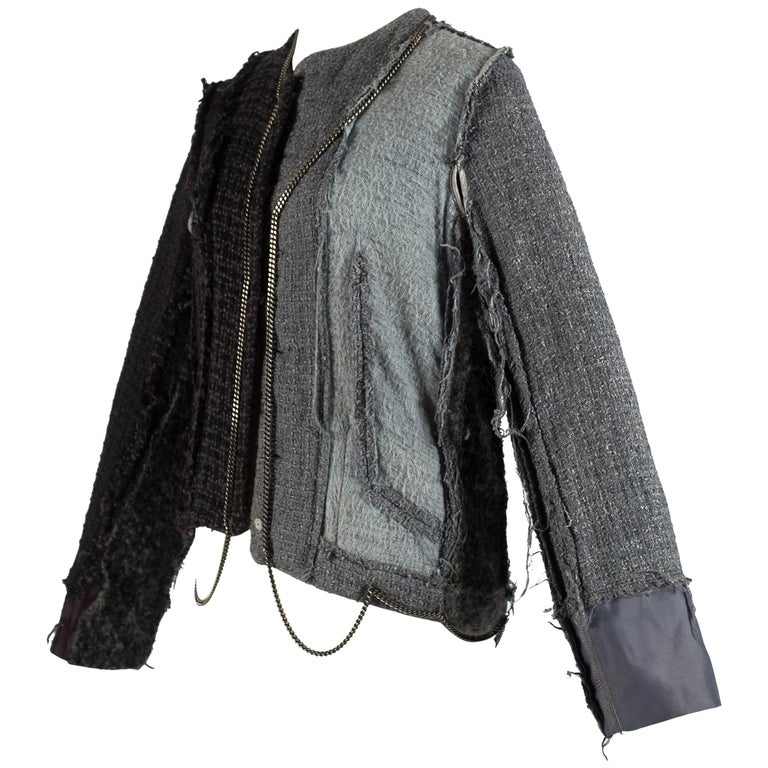 Margiela reconstructed jacket of recycled tweed with decorative chains, aw 2004