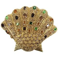 1980s Ciner Swarovski Crystal Sea Shell Brooch Pin Never Worn