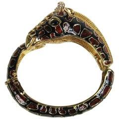 Ciner Giraffe Swarovski Crystal Bangle Bracelet, 1980s