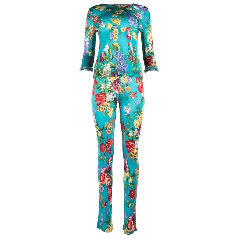 Dolce & Gabbana viscose jersey turquoise floral pant suit, circa 1999