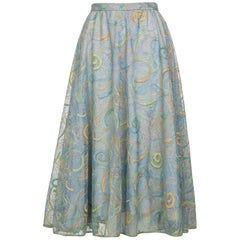 2102 Rodarte Van Gogh Multi-Colored Metallic Embroidered Tulle Circle Skirt