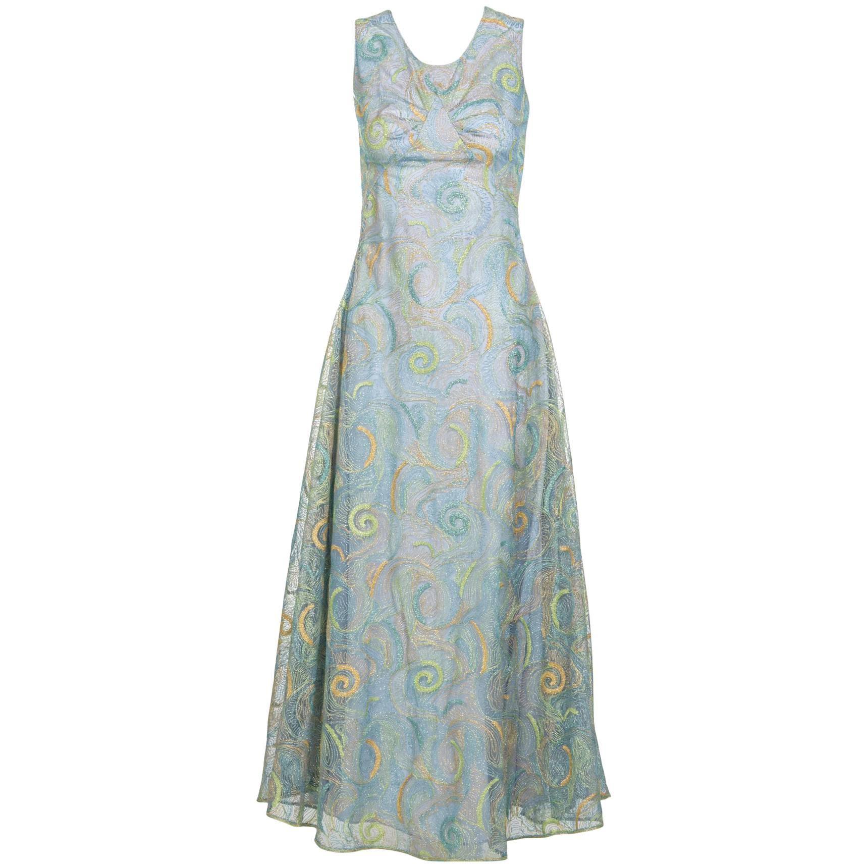2102 Rodarte Van Gogh Multicolored Metallic Embroidered Tulle Dress