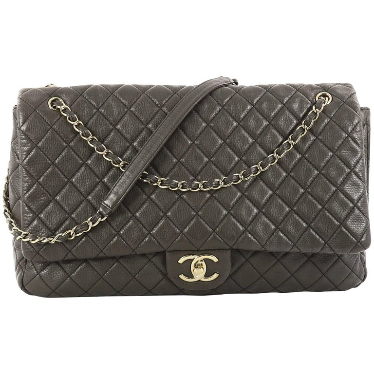 aaa377b01630 Chanel Airlines CC Quilted Calfskin XXL Flap Bag at 1stdibs