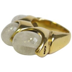 GOOSSENS Ring in Gilt Metal Set with 3 Rock Crystals size 56