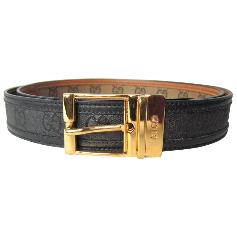 157d1b41118b 1990s Gucci Black Doube GG Canvas & Leather Belt Never Worn w/ Tags Unisex  For