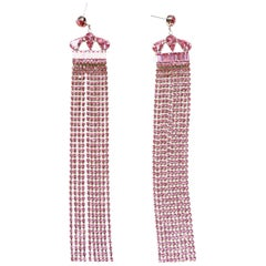 Pink Rhinestone showgirl earrings