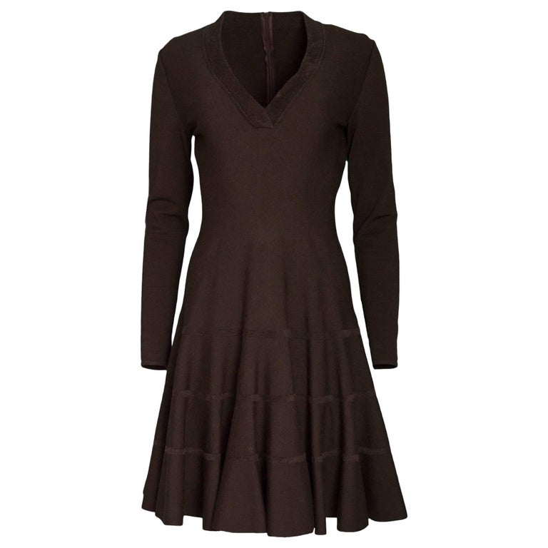 d2680dc149e Alaia Brown Wool Fit and Flare V-Neck Dress Sz FR42 For Sale at 1stdibs