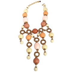 Francoise Montague Galalith and Swarovski Crystal Statement Necklace