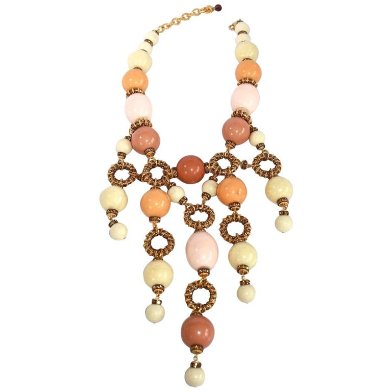 Francoise Montague Galalith and Swarovski Crystal Statement Necklace For Sale