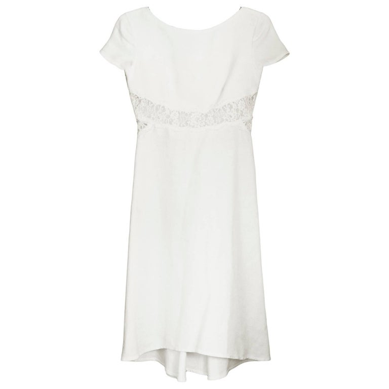 Valentino White Linen & Lace Dress