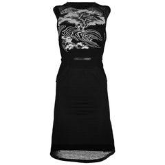Vivienne Tam Black Sleeveless Mesh Dress Sz P