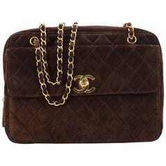 Chanel Vintage Front Pocket Camera Bag Quilted Suede Maxi