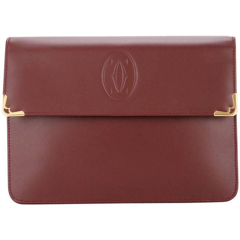 Cartier Burgundy Bordeaux Leather Gold Evening Envelope Flap Clutch Bag
