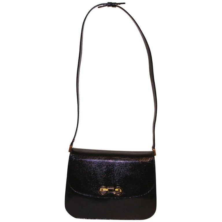 Elegant Black Gucci Lizard Shoulder Bag with Adjustable Strap SPRING!