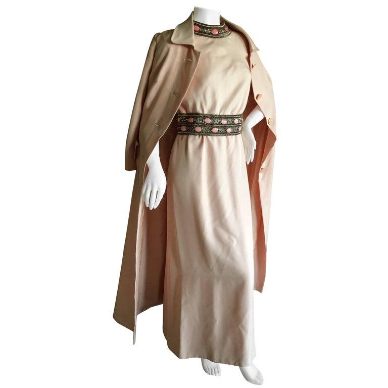 Pierre Balmain Haute Couture 1962 Lesage Bead Embellished Evening Dress & Coat