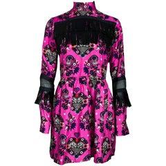 MSGM Pink Silk & Black Fringe Dress Sz IT40