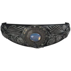 Opalescent jewel stone carved leather belt, 1980s