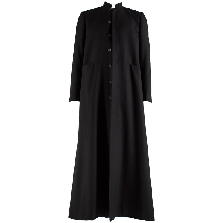 Raf Simons black wool full length button up priest coat, 'confusion' aw 2000
