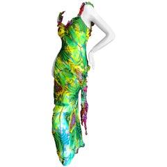 John Galliano Acid Green Psychedelic Print Bias Cut Vintage Ruffle Silk Dress