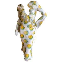 Christian Dior John Galliano Sheer Silk Two Piece Ruffled Low Cut Lemon Dress