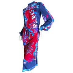 Leonard Paris Floral Silk Jersey Poet Sleeve Dress with Belt, 1970s
