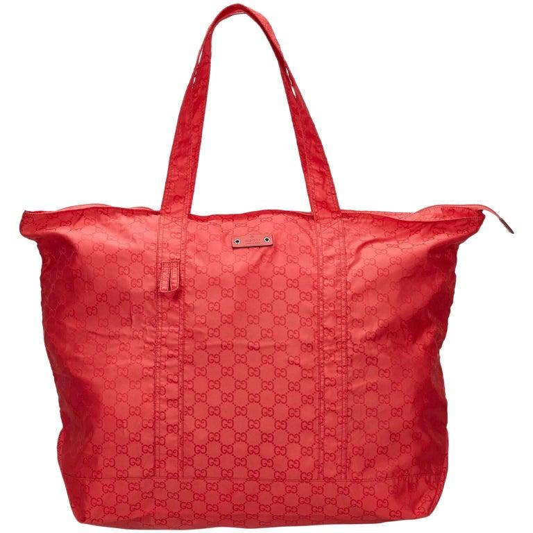 Gucci Guccissima Red Nylon Tote Bag