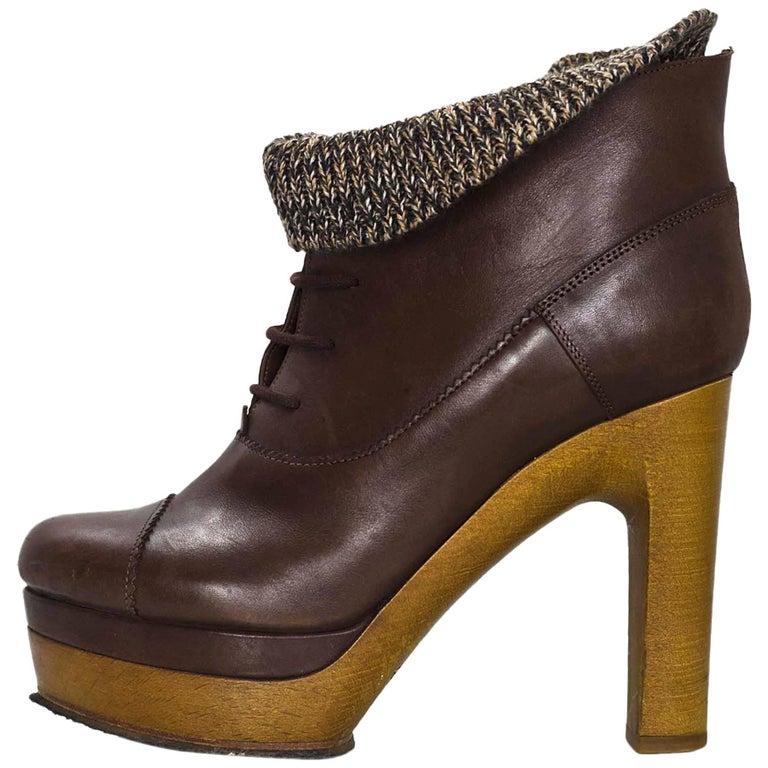 Chloe Brown Leather Sock Booties Sz 38