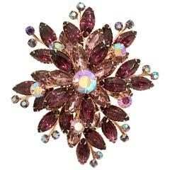60'S Gold & Amethyst Austrian Crystal rhinestone Brooch